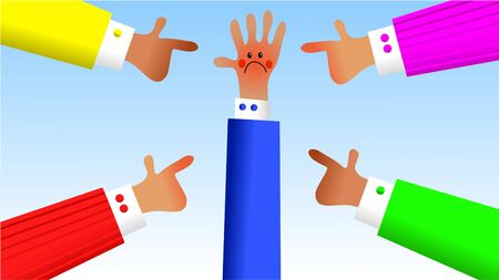 censure: being singled out by others in the group - handy hands series Stock Photo