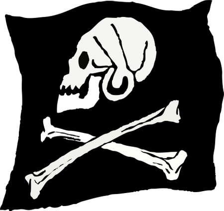 nieobrabiane szkicowy rysunek stylu ilustracją piratem trupia czaszka i skrzyżowane kości banderą Zdjęcie Seryjne - 590302