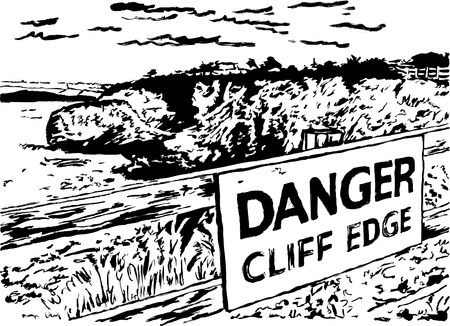 cliff edge: rough sketchy drawing style illustration of a fenced off cliff edge with warning sign Stock Photo
