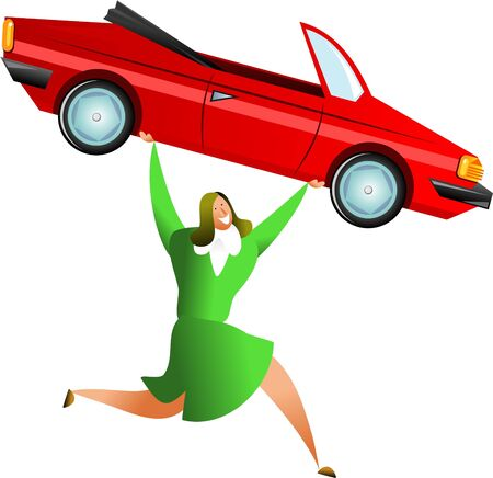 bought: happy woman carrying a red sports car, maybe shes just sold it or maybe shes just bought herself a new automoblie