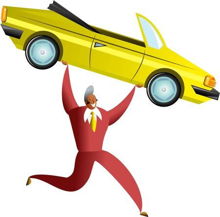hes: happy ethnic man carrying a yellow sports car, maybe hes a saleman or maybe hes just bought himself a new car Stock Photo