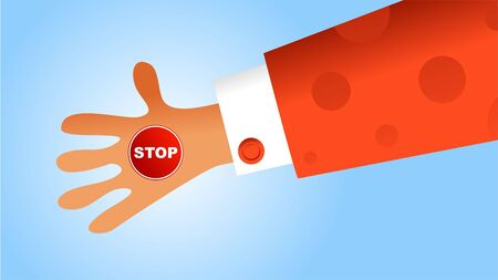 cease: the arm of a business person holding a stop sign in the palm of hand Stock Photo