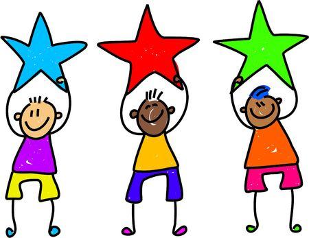 achievement clip art: happy and diverse team of children holding stars - toddler art series Stock Photo