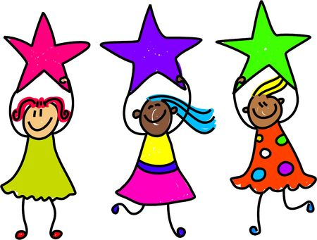 passed: happy and diverse team of children holding stars - toddler art series Stock Photo