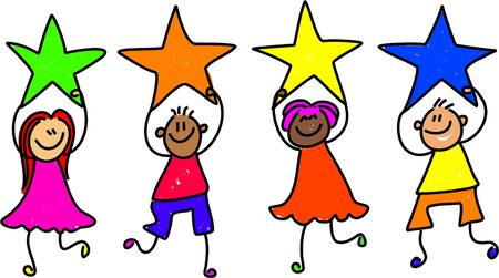 children school clip art: a group of happy and diverse little children holding up their stars of achievement - toddler art series Stock Photo
