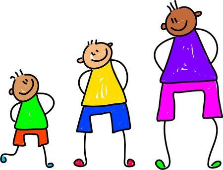 feliz y poco diversos niños en diferentes etapas de crecimiento - Embarazo arte serie Foto de archivo - 628347