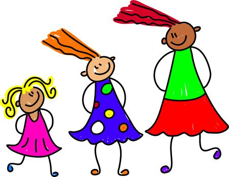 happy and diverse group of girls at different stages of growth - toddler art series Stock Photo