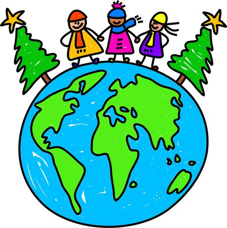 hands holding tree: happy little kids standing on the globe next to Christmas trees - toddler art series Stock Photo