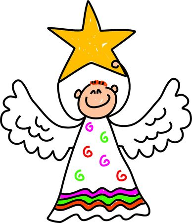 happy little boy dressed up as an angel and holding a star for the Christmas nativity play - toddler art series Stock Photo