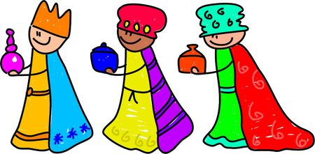 trio: happy little kids dressed up as the three kings for the Christmas nativity play - toddler art series