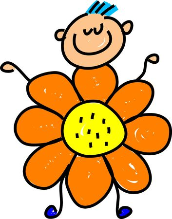 happy little boy dressed up as a flower, maybe for a school play or a party - toddler art series Stock Photo