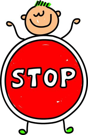 cease: happy little caucasian boy dressed up as a stop sign maybe for a school play or an anti bullying campaign - toddler art series Stock Photo