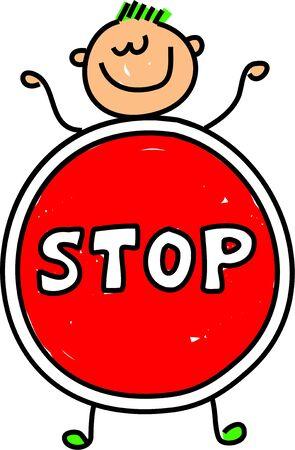 cease: poco felice caucasica ragazzo vestito come uno stop forse per svolgere una scuola o un anti bullismo campagna - serie bambino arte
