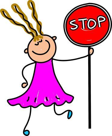 cease: Felice bambina in possesso di un stop - toddler arte serie