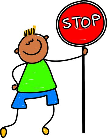 child holding sign: happy little asian boy holding a stop sign - toddler art series