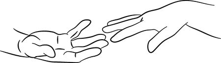 simple line drawing of two hands reaching out to each other photo