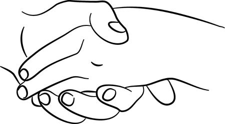 hand touch: simple line drawing of two hands touching