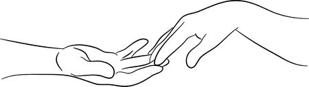 drawing safety: simple line drawing of two hands reaching out and touching each other