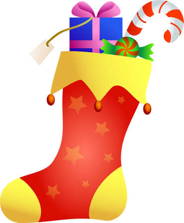 a decorative Christmas stocking with gifts inside isolated on white background Stock Photo