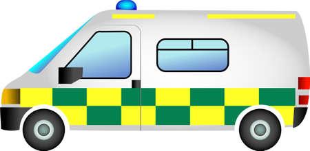 emergency vehicle: an ambulance emergency vehicle isolated on white background