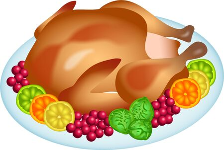 edibles: a Christmas roast turkey with trimmings isolated on white background