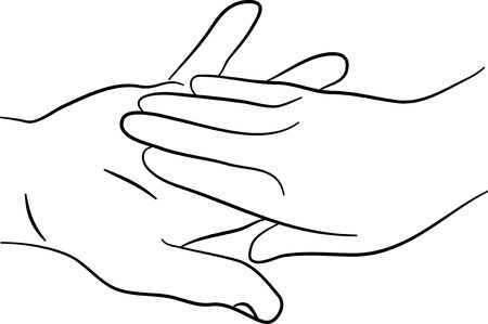 a simple line drawing of two hands touching tenderly Banco de Imagens