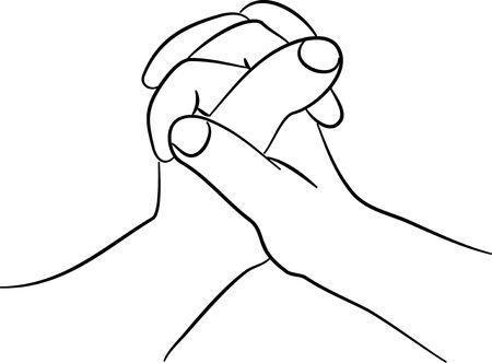 una l�nea simple dibujo de dos manos juntas Foto de archivo - 675992