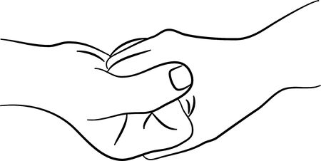 hand touch: a simple line drawing of two hands clasped together
