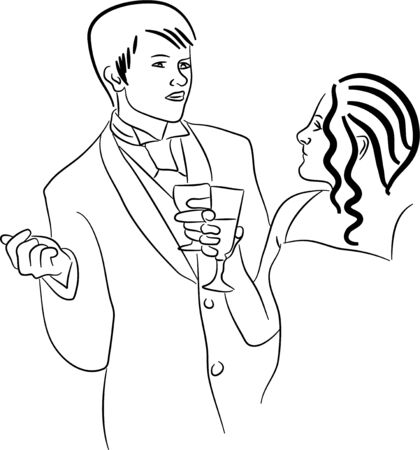 adult birthday party: simple line drawing of a young couple on an elegant date