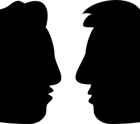 whispering: profile faces in silhouette of two men in converstion