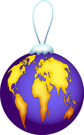 it is isolated: a Christmas bauble with a map of the world designed on it isolated on white background