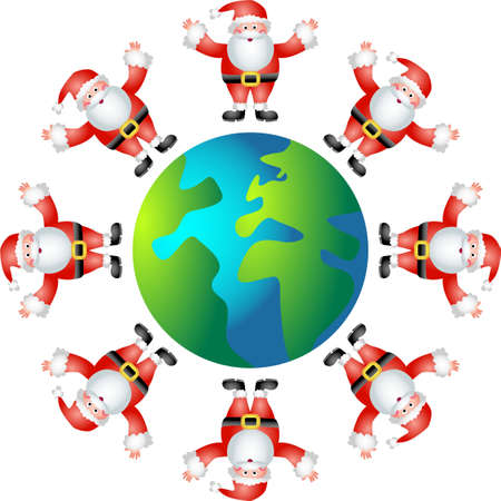 a world full of santas isolated on white background photo