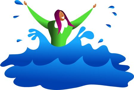 survivor: an ethnic business woman drowning in water or is she a survivor - business concept illustration