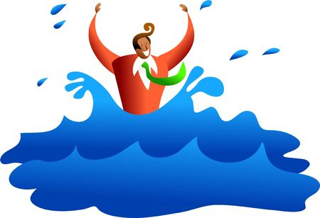 survivor: ethnic business man drowning in the water or maybe hes a survivor - business concept illustration Stock Photo