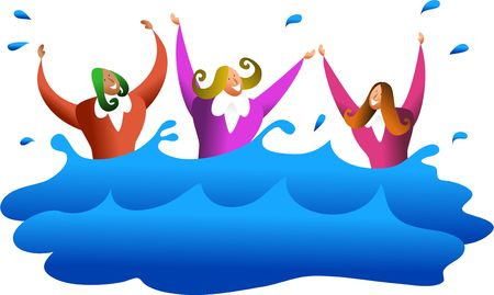 drowning: a team of diverse business women drowning in water or maybe they are survivors - business concept illustration