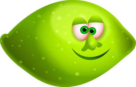 un jugoso limón verde con una caricatura cara aisladas sobre blanco Foto de archivo - 708799