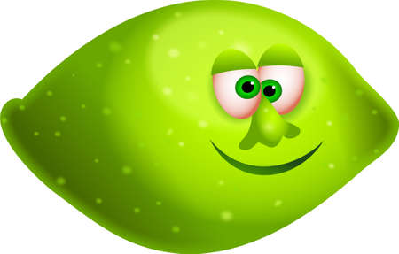 un jugoso lim�n verde con una caricatura cara aisladas sobre blanco Foto de archivo - 708799
