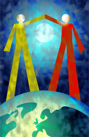 pact: two people making a gesture of peace and unity whilst standing on the earth
