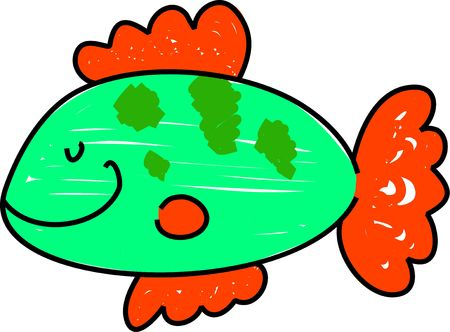 a simple fish isolated on white drawn in toddler art style Stok Fotoğraf