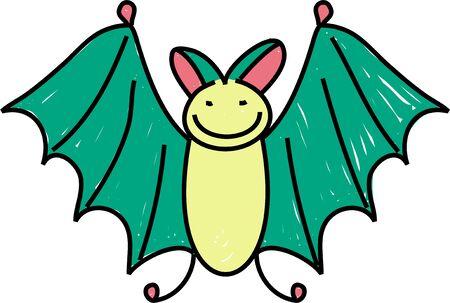un lindo murciélago dibujado en el estilo de dibujo un niño Foto de archivo - 725956