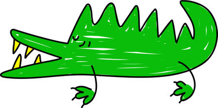 snapping: a snapping green crocodile isolated on white drawn in toddler art style