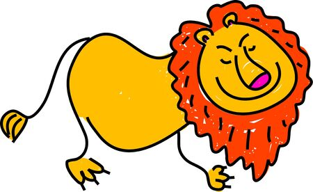 glücklich Lion King des Dschungels isoliert auf weiß gezeichnet Kind in modernem Stil Lizenzfreie Bilder - 725948