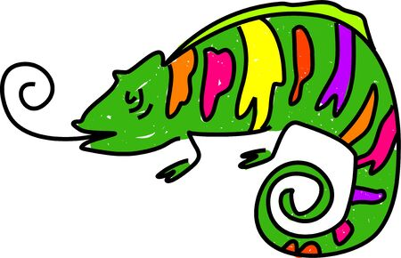 chameleon lizard: a multi coloured chameleon lizard isolated on white drawn in toddler art style Stock Photo