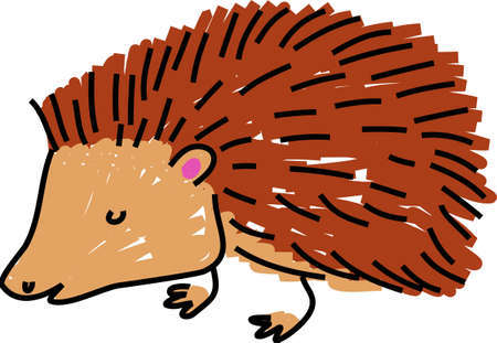 prickly: a cute prickly hedgehog isolated on white drawn in toddler art style