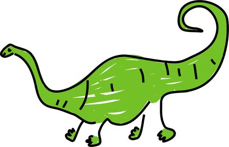 diplodocus: a green diplodocus giant dinosaur isolated on white drawn in toddler art style