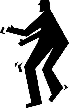 sneaking: simple silhouette icon of a man sneaking around - action figures Stock Photo