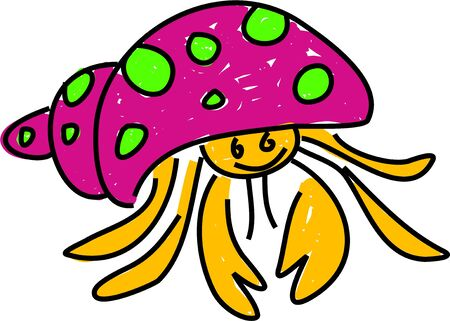 hermit: a cute hermit crab coming out of its shell isolated on white drawn in toddler art style