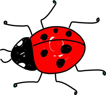 beetles: red spotted ladybug beetle isolated on white drawn in toddler art style