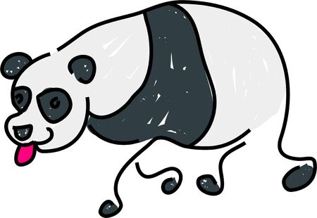panda bear isolated on white drawn in toddler art style