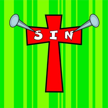 nailed: sin nailed to the cross of calvary background easter design Stock Photo